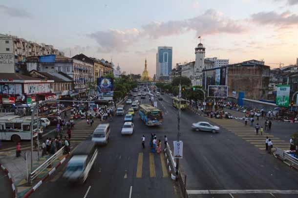 General view of traffic near Sule pagoda in Yangon