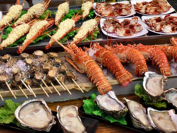 Selection of quality seafood on sale at a Taiwanese street market