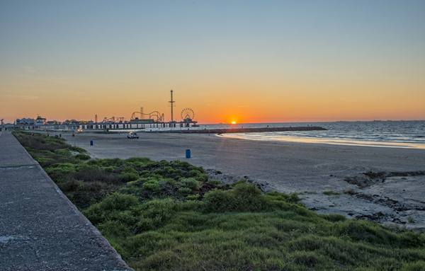 Galveston Texas Beach at Sunrise. Shot in early spring.