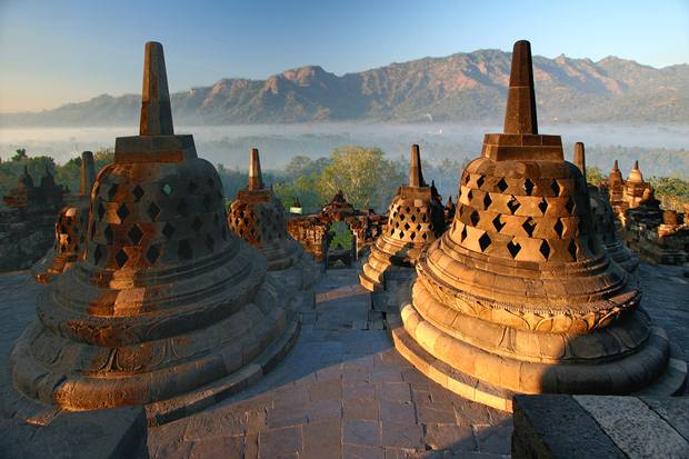 Stupas on top of Borobudur temple, early morning light. A UNESCO World Heritage site, built between the years 750 and 850.